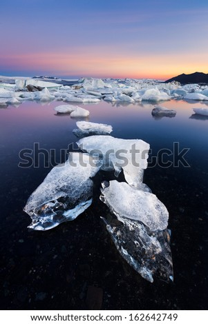 Icebergs in Jokulsarlon lagoon - stock photo