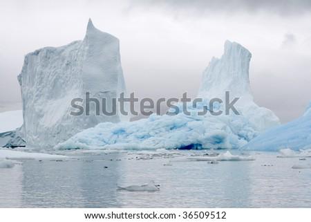 Icebergs in Napassorsuaq Fjord, Greenland - stock photo