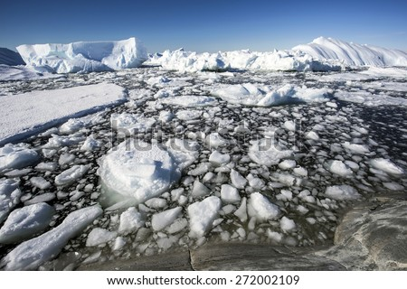 Icebergs in the Antarctic - stock photo