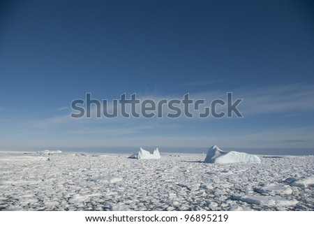 Icebergs in the Antarctic Ocean - 3. - stock photo