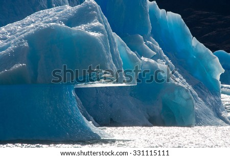 Icebergs in the water, the glacier Perito Moreno. Argentina. An excellent illustration.