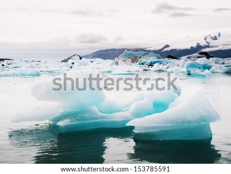 Icebergs in water