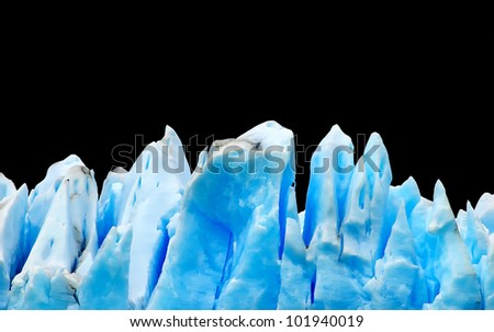 Icebergs isolated on black - stock photo