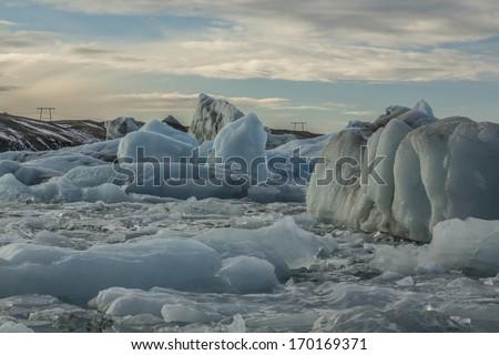 Icebergs locked in water - stock photo