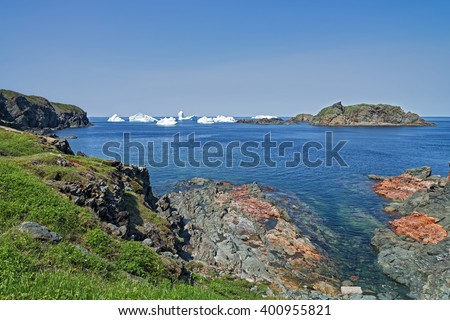 Icebergs near shore in Newfoundland north coast