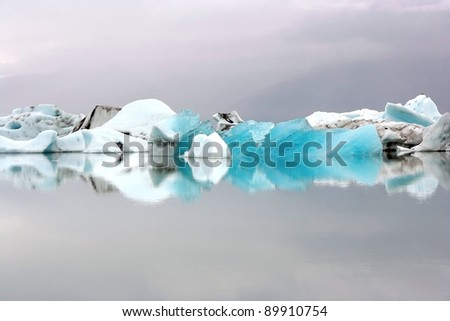 Icebergs on Icelandic biggest glacier lagoon Jokulsarlon - stock photo