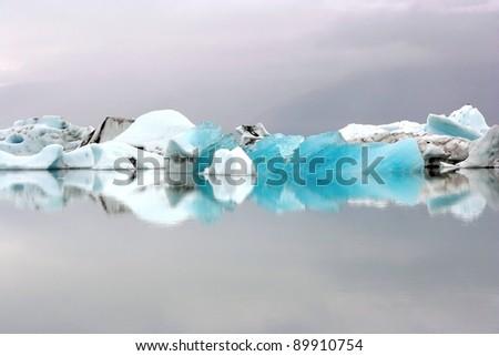 Icebergs on Icelandic biggest glacier lagoon Jokulsarlon - stock photo