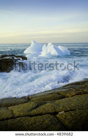 Iceburgs in the Atlantic ocean, Newfoundland Canada - stock photo