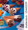 Icecream with fruit - stock photo