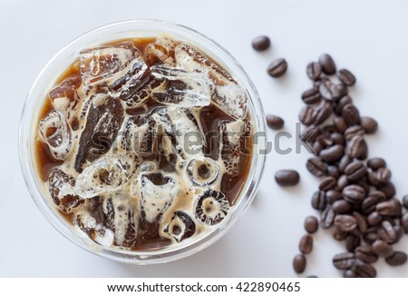 iced americano top view close up on white background  - stock photo