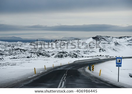 Iced and slippery road - stock photo