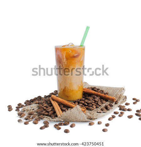 Iced brew coffee with milk isolated on white background - stock photo