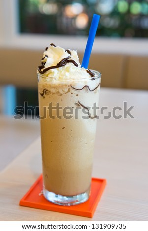 iced cappuccino in coffee shop - stock photo