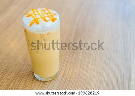 Iced caramel coffee - stock photo