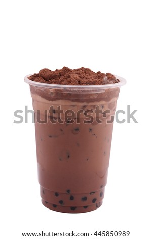 Iced chocolate isolated on white background