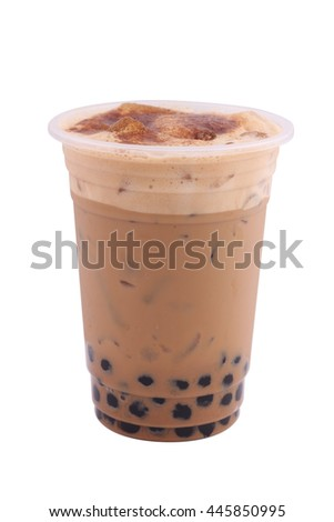 Iced coffe isolated on white background - stock photo