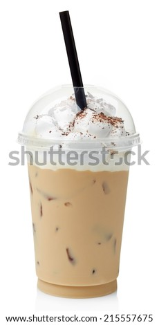 Iced coffee covered with whipped cream in plastic glass isolated on white background - stock photo