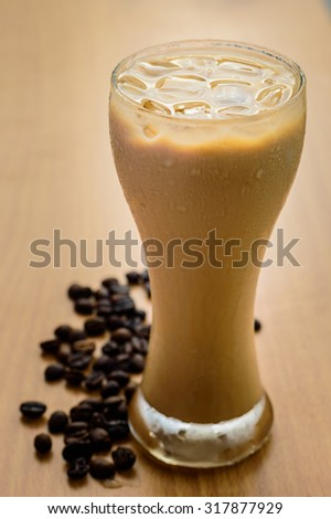 Iced coffee in a glass. - stock photo