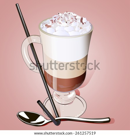iced coffee in a glass with a straw and a spoon on a plate - stock photo