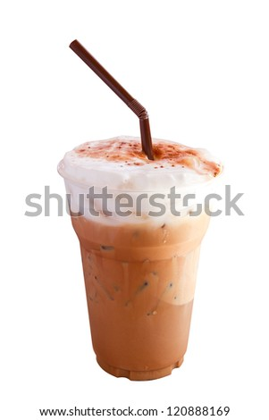 Iced coffee  in plastic cup isolated on white background - stock photo