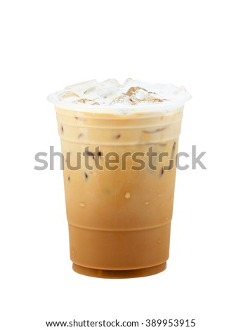 Iced coffee in plastic cup isolated on white background / coffee sweet - stock photo