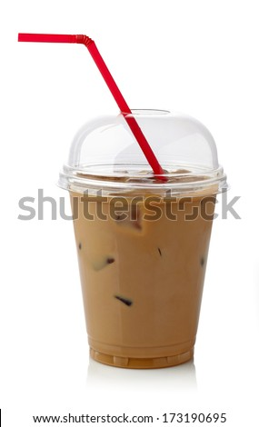 Iced coffee in plastic glass with straw isolated on white background