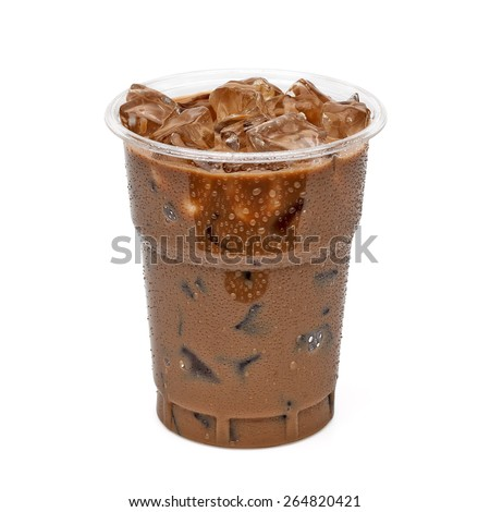 Iced coffee in take away cup isolated on white background including clipping path - stock photo