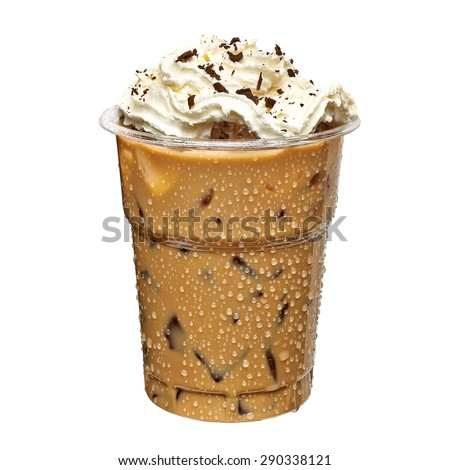 Iced coffee in take away cup with cream on white background - stock photo