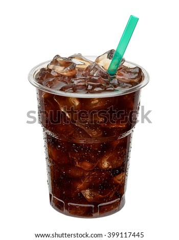 Iced coffee in takeaway cup. Clipping path included  - stock photo