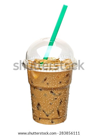 Iced coffee in takeaway cup including clipping path - stock photo