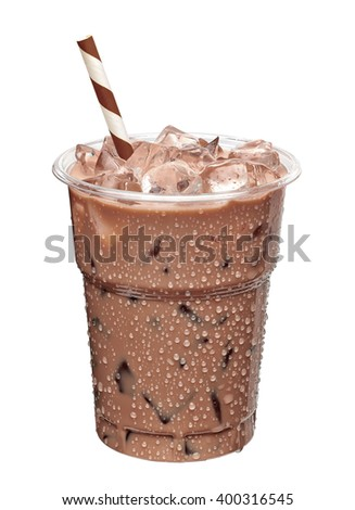 Iced coffee in takeaway cup on white background including clipping path - stock photo