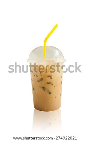 iced coffee isolated white background - stock photo