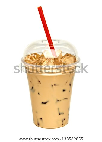 Iced coffee latte in takeaway cup on white background - stock photo