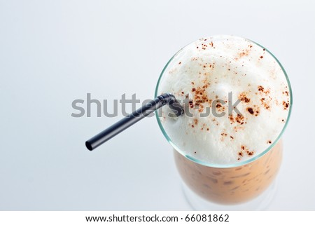 iced coffee Latte with whipped cream isolate on white background. - stock photo