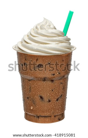 Iced coffee mocha in takeaway cup isolated on white background - stock photo