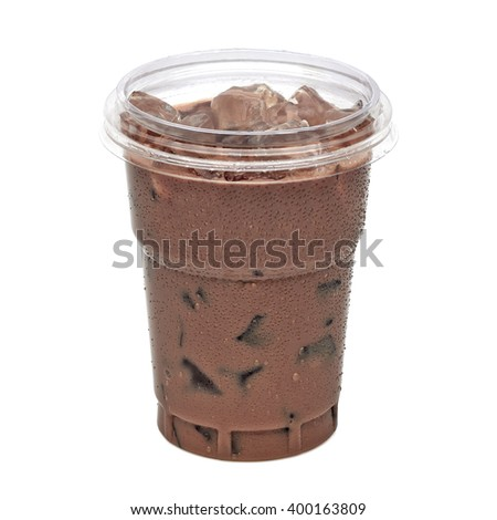 Iced coffee or mocha in takeaway cup on white background including clipping path - stock photo