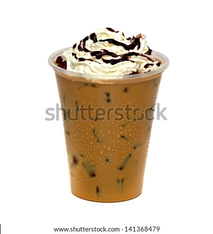 Iced coffee with cream and sauce in take away cup on white background - stock photo