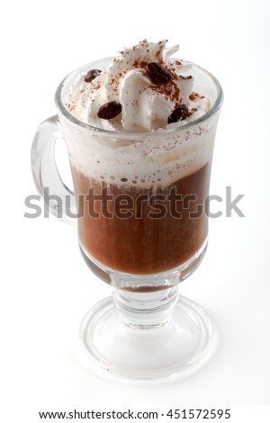 Iced coffee with cream vanilla pod and sauce on white background