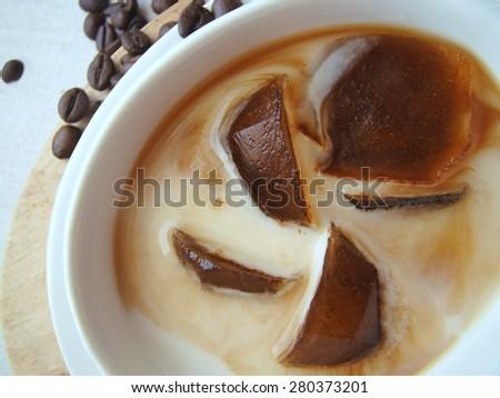 Iced coffee with milk - stock photo