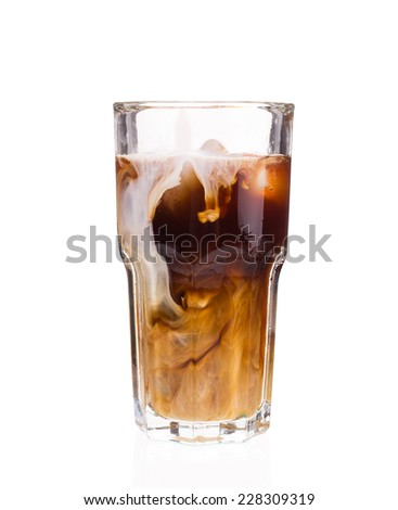 Iced Coffee with Milk. Isolated on a white background.