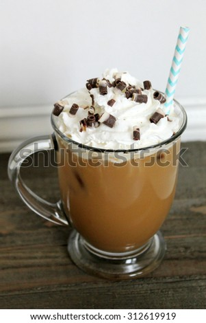 iced coffee with whipped cream and chocolate toppings