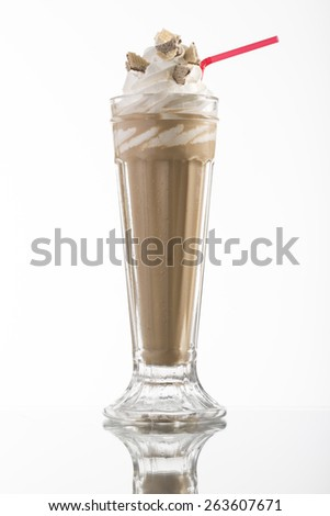 iced coffee with whipped cream and drinking straw for the menu card