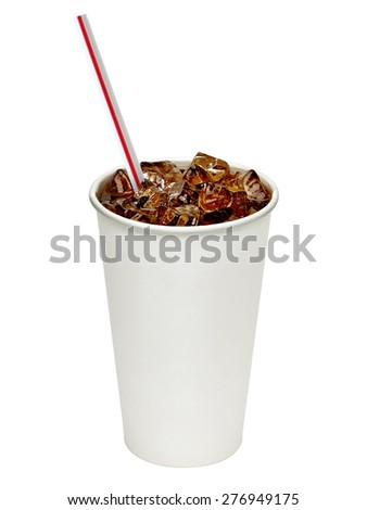 Iced cola with straw in paper cup on white background - stock photo