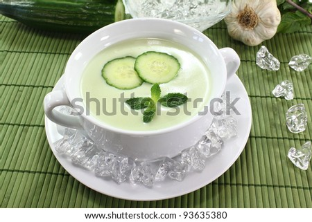 iced cucumber soup with garlic, yogurt and fresh mint