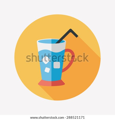 iced drink flat icon with long shadow