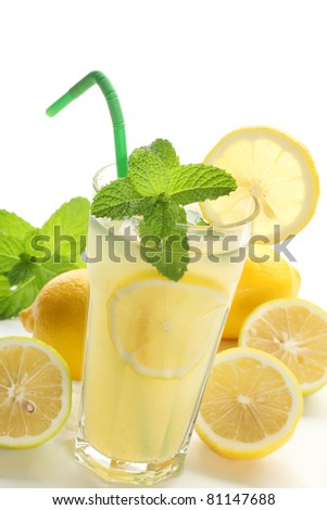 Iced drink with mint and citrus fruit,Closeup.