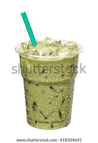Iced green tea latte in takeaway cup isolated on white background