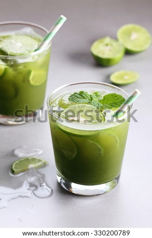 iced green tea with lime and fresh mint