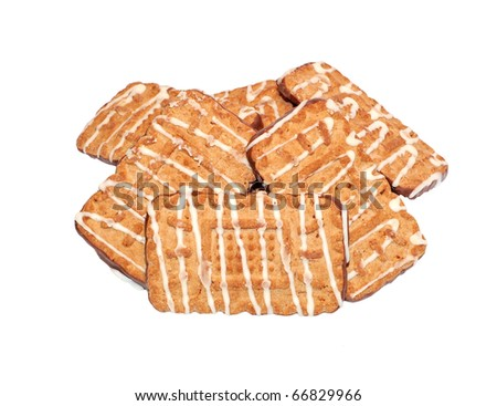 Iced homemade cookie, isolated on white background