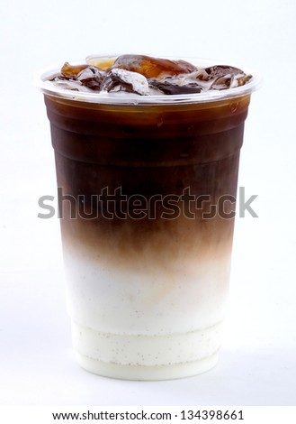 iced latte on white background - stock photo